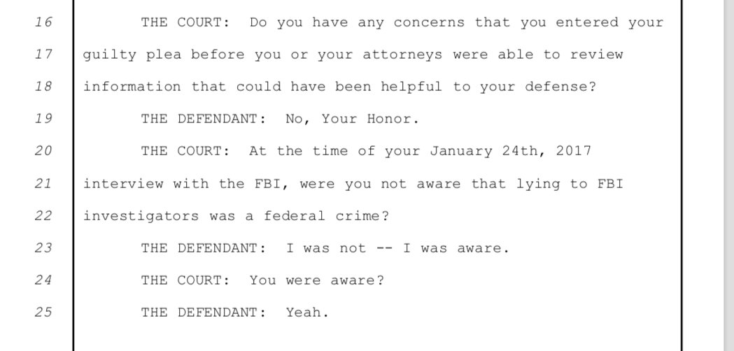 Flynn says he knew it was a crime to lie to the FBI at the time he was interviewed at the White House.
