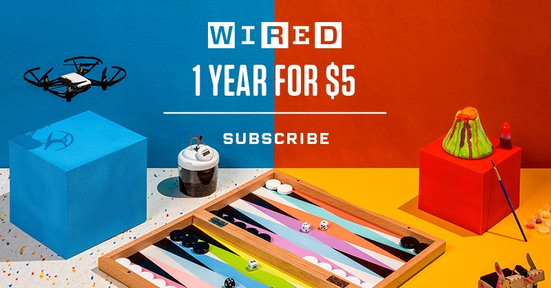 Holiday Sale--for a limited time, get a year of WIRED for just $5. https://t.co/0zBNaDtqOF Questions? Call 1-800-SOWIRED or email WIRcustserv@cdsfulfillment.com.
