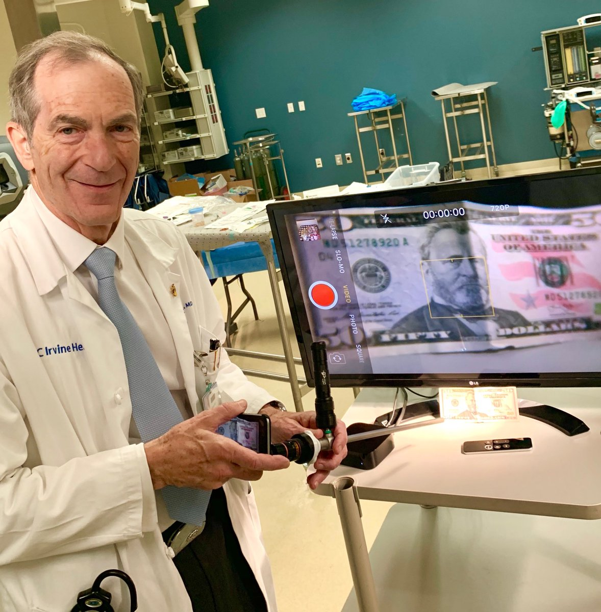 Dr. Clayman using the first wireless laparoscopic camera system in lab today!  Endockscope concept using standard Apple AirPlay and total cost of entire optical system on screen ($50)!  Go UCI lab team innovation!!!