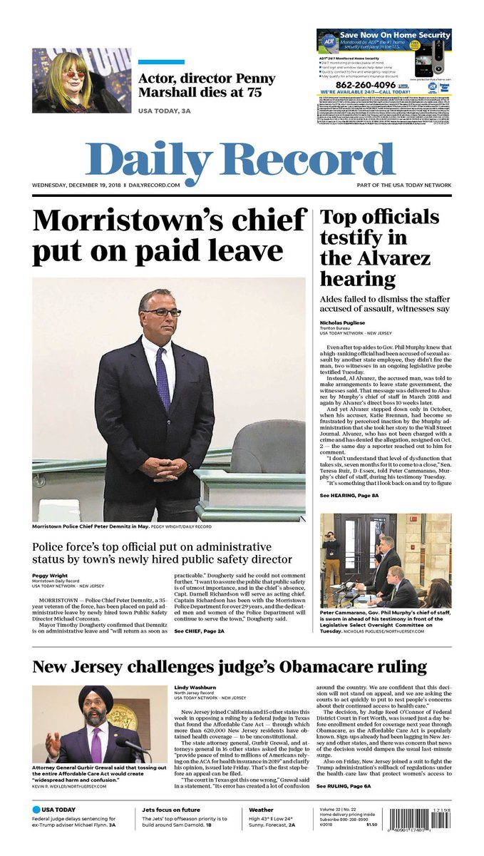 Good morning, Morris County! It's Wednesday, December 19, 2018   Morristown's chief put on paid leave https://t.co/rFNYbFEfVn Support local journalism; subscribe here: https://t.co/6Fa30t1g0I