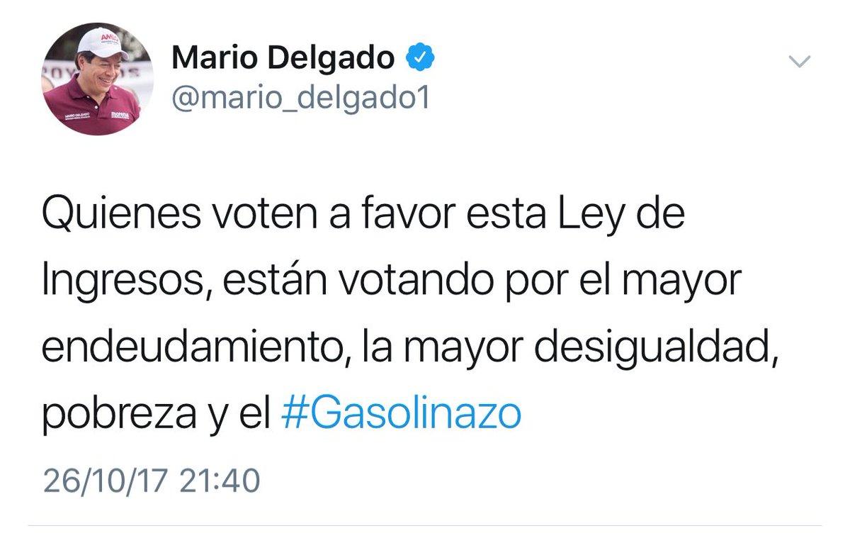 """Dice @mario_delgado1 que hay un """"falso debate"""" sobre el gasolinazo y la Ley de Ingresos.  ¿Se referirá a este irresponsable? 👇🏽 https://t.co/heoTaDYm9U"""