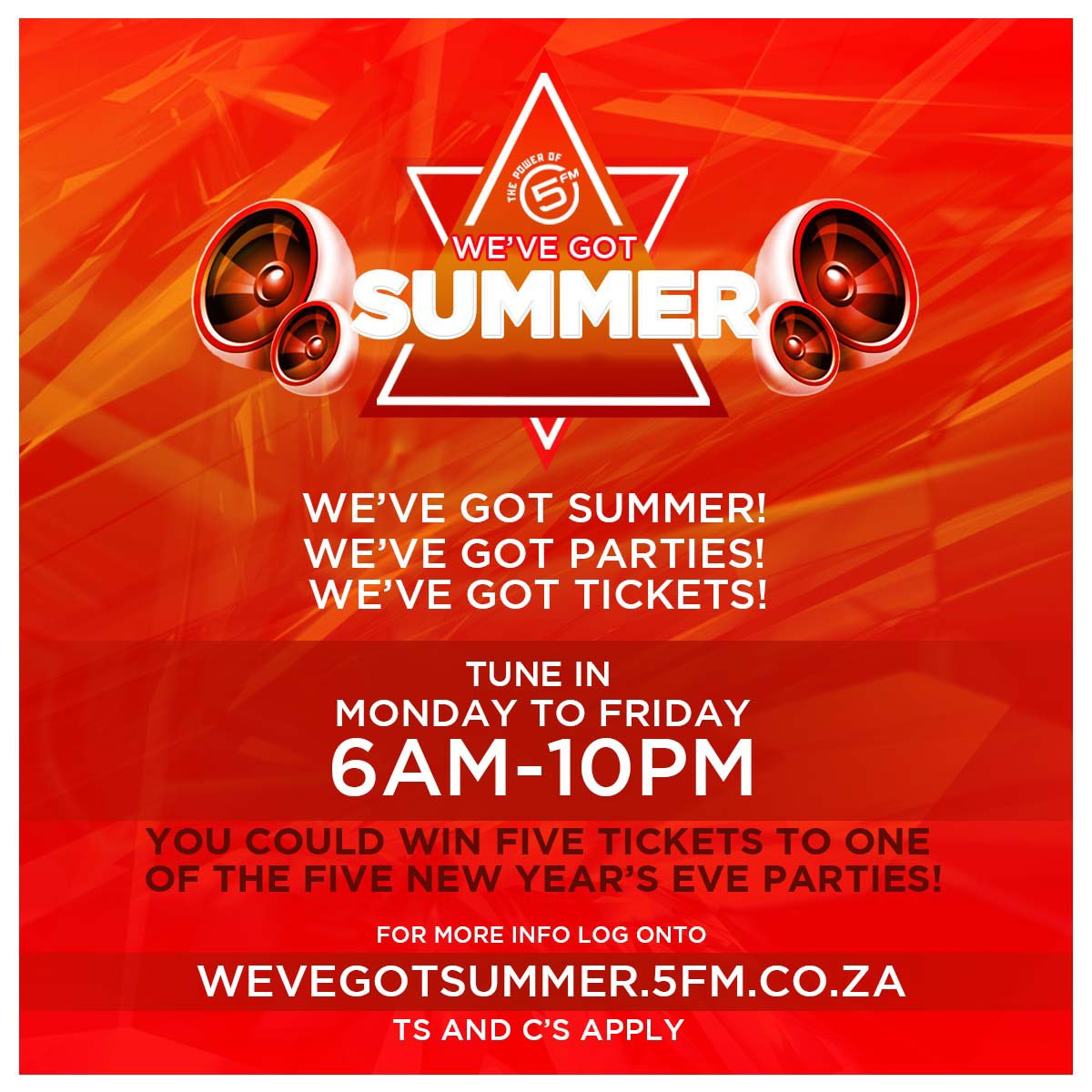 We've still got NYE tickets to give away 👀   Tune in to @HammanTime, @ForbesAndFix, @TheThabootyShow &  t@5fmNightso win tix to one of our 5 NYE parties around SA 🇿🇦  Info:   https://t.co/U44Cr6TLo1#WeGot5ummer