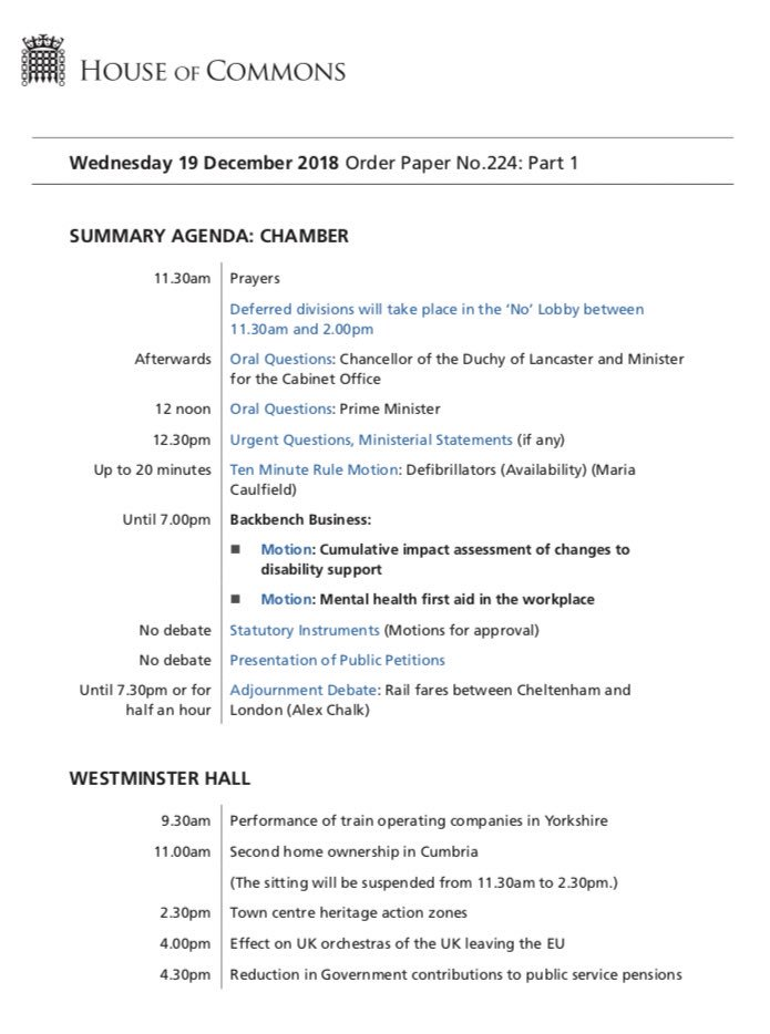 Parly On Twitter Here Is Today S Order Paper The Commons Sits At
