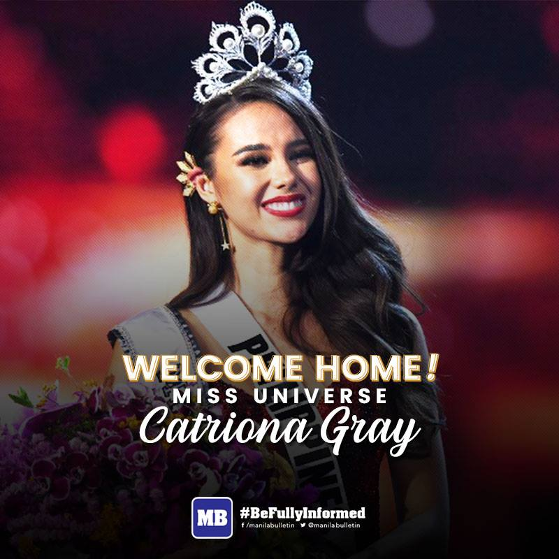 Roll out the red carpet, the queen has arrived. Welcome home, #MissUniverse 2018 @catrionaelisa Gray! 👑  READ: https://t.co/OpgFSAo3j3