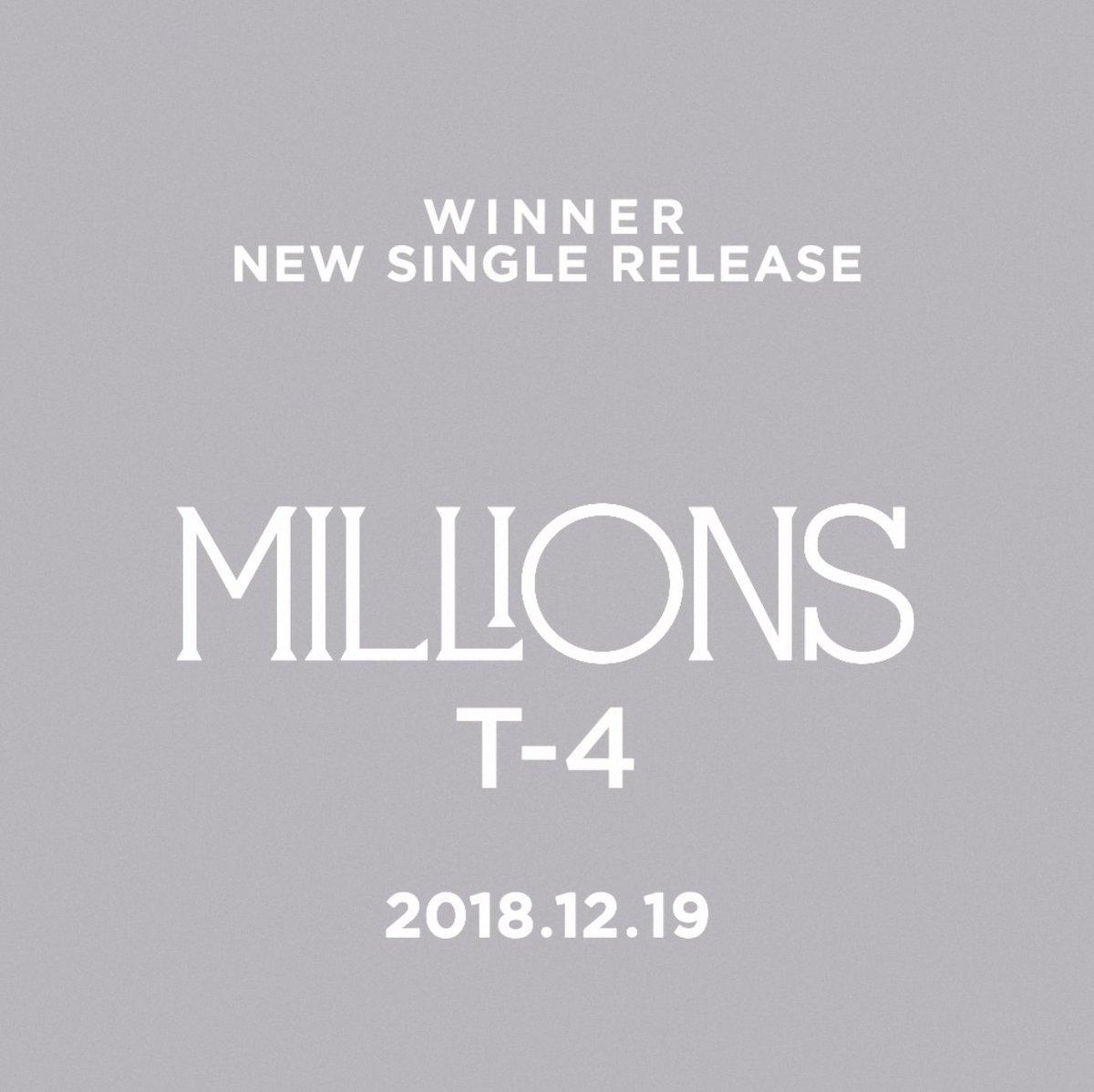 #WINNER 'MILLIONS' T-4 : MINO  New Single & M/V Release 🔜 Today 6PM(KST)  #WINNER #위너 #NEW_SINGLE #MILLIONS #T-4 #MINO #RELEASE #20181219_6PM #YG