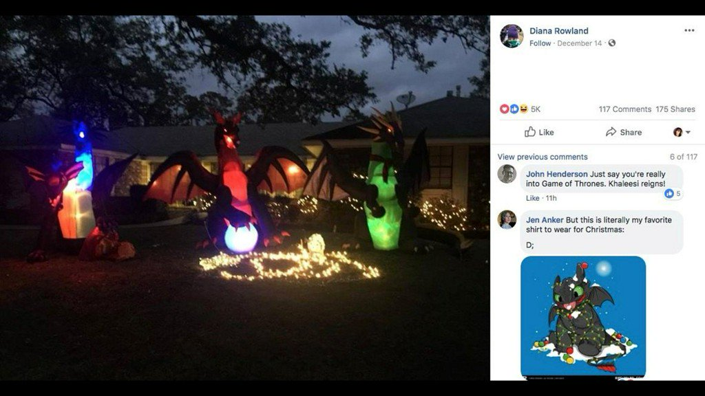 Woman's inflatable dragon decorations at Christmas prompt 'may God bless you' note from neighbor https://t.co/JiuGUVIEc8