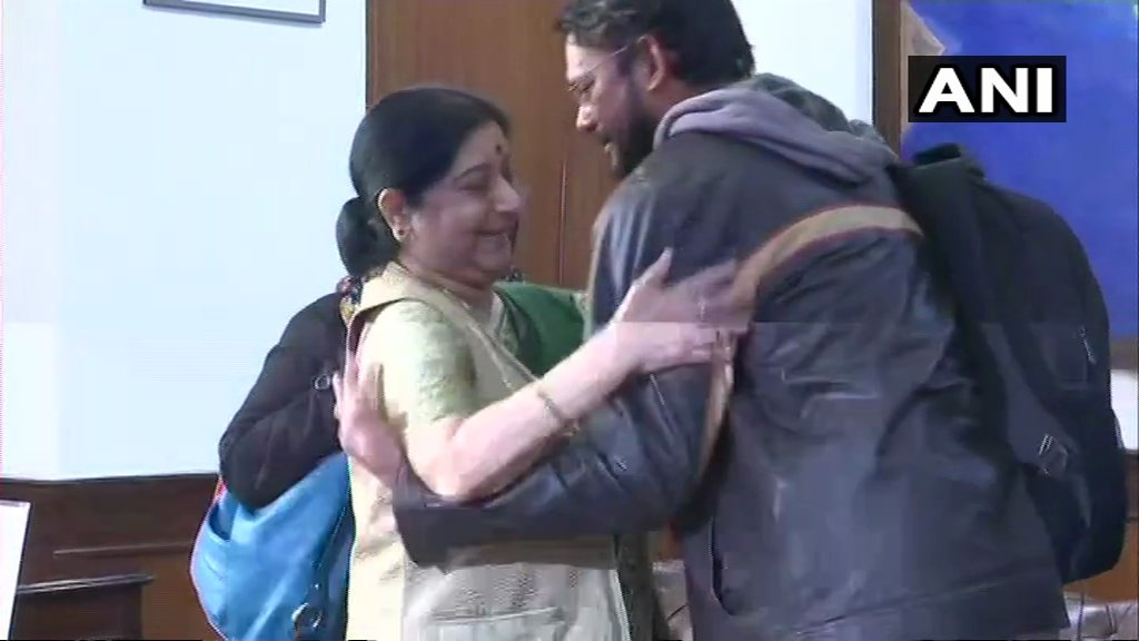 Indian National Hamid Ansari who came to India after being released from a Pakistan jail yesterday, meets External Affairs Minister Sushma Swaraj in Delhi.