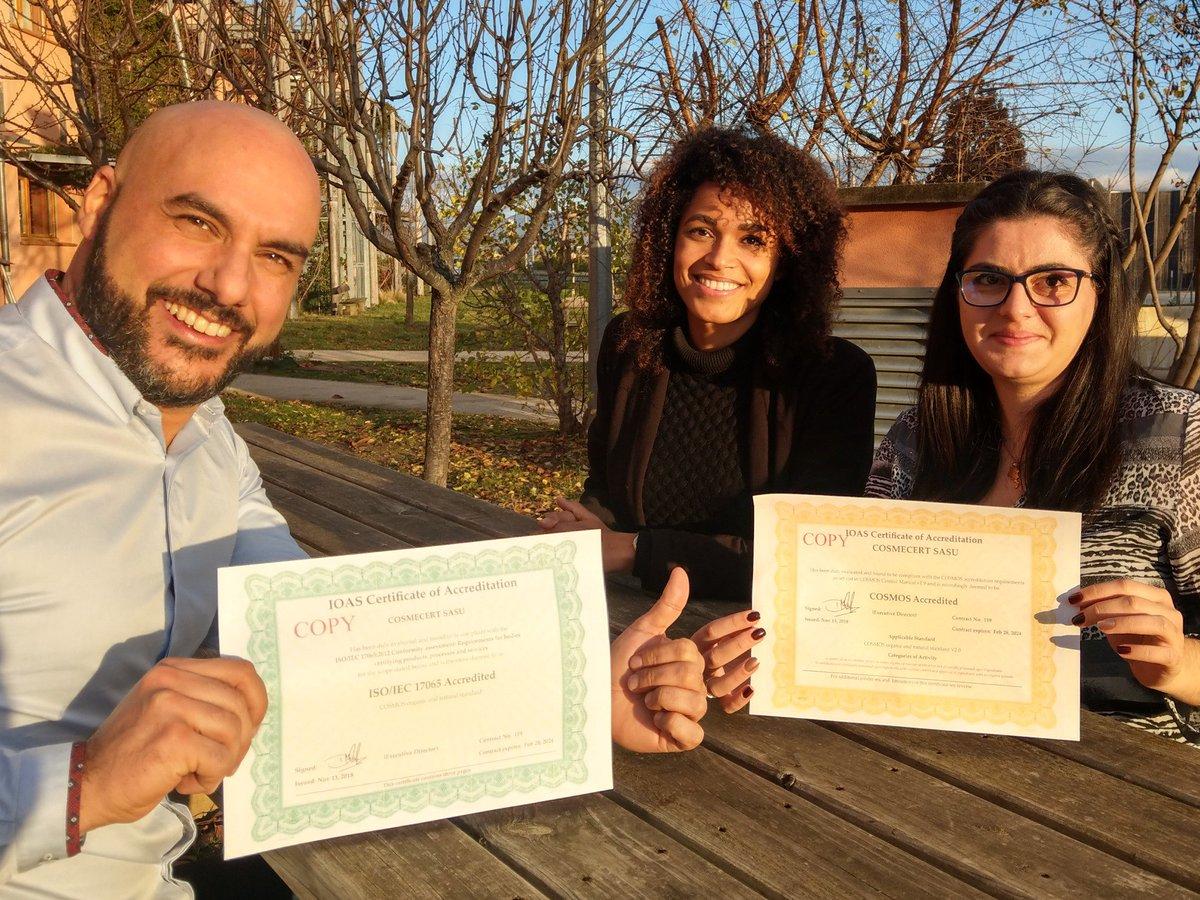 L'année 2018 se termine en beauté pour Cosmécert, notre filiale de certification, qui devient le 1er certificateur accrédité COSMOS et fête son 50ème client 🎉 http://bit.ly/2A5oqAZ