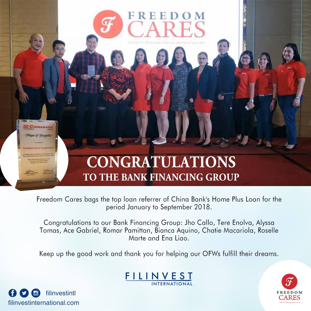Hi Kabayan, Good News! We bag the top loan referrer of China Bank's Home Plus Loan for the period of January to September 2018. Congratulations to our Bank Financing group!  #Filinvest #FilinvestInternational #OFW https://t.co/LB277COaZR