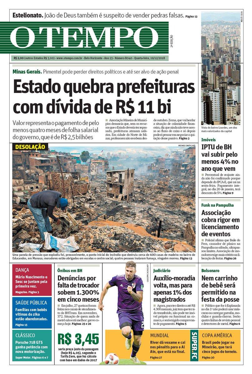 Bom dia!!!! Está é a capa do jornal O TEMPO desta quarta-feira (19)  #otempo #noticia #jornal #capa #bh #minas #mg