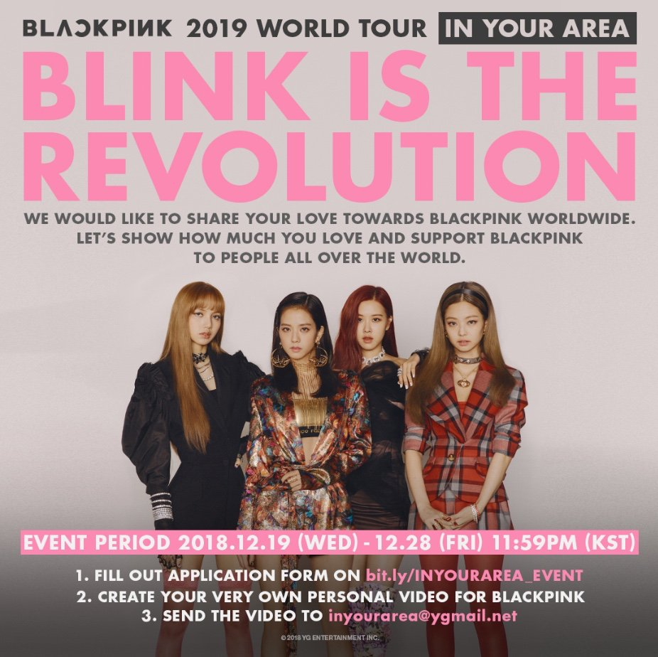 Worldwide #BLINKS, Please participate BLINK IS THE REVOLUTION event to show how much you love and support   #BLACKPINK ▶️ https://t.co/sQbWDBQ6SS  #블랙핑크 #BLACKPINK2019WORLDTOUR2#INYOURAREA0#WORLDTOUR1#KPOP9#BLINKISTHEREVOLUTIONWO#YGRLDTOUR