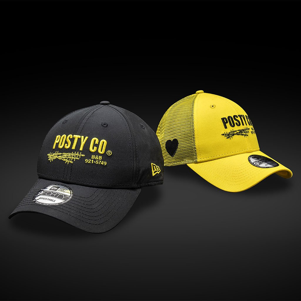 f9f288b442a2b The Posty Co caps are available in 9FORTY and Trucker silhouettes in  striking black and yellow colourways. http   bit.ly PostMaloneNE  pic.twitter.com  ...