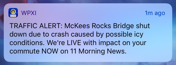 Channel 11 is continuing to follow #BREAKING NEWS on a crash that shut down the McKees Rocks Bridge. LIVE updates on 11 Morning News. https://t.co/oXBTQsMi1K  For breaking news alerts and updates sent to your phone DOWNLOAD the #WPXI News app ---> https://t.co/4FyjBBDvba