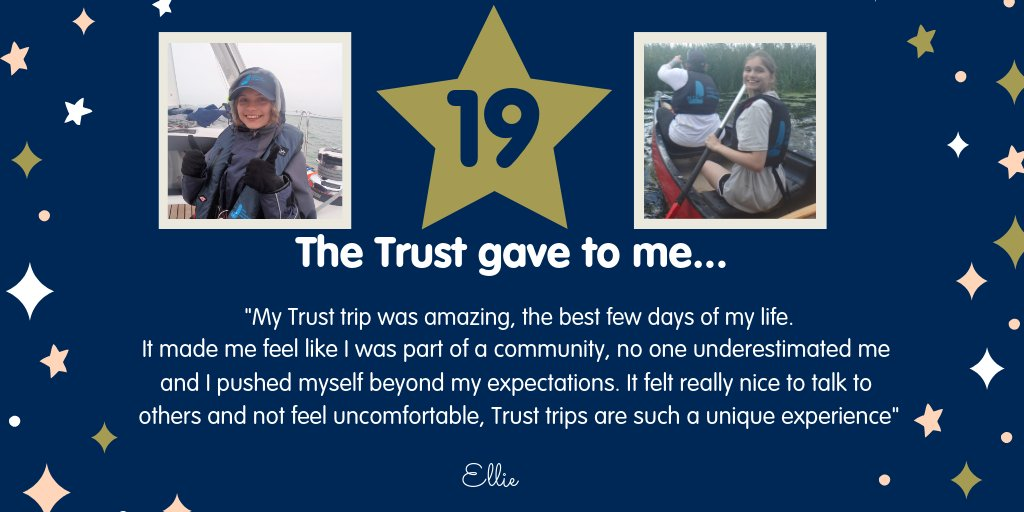 DAY 19 - Meet Ellie 👋 She was diagnosed with a soft tissue tumour aged 15, after two years of treatment at the @NGHnhstrust Hospital she set sail on her first Trust trip and had the best time of her life 👇