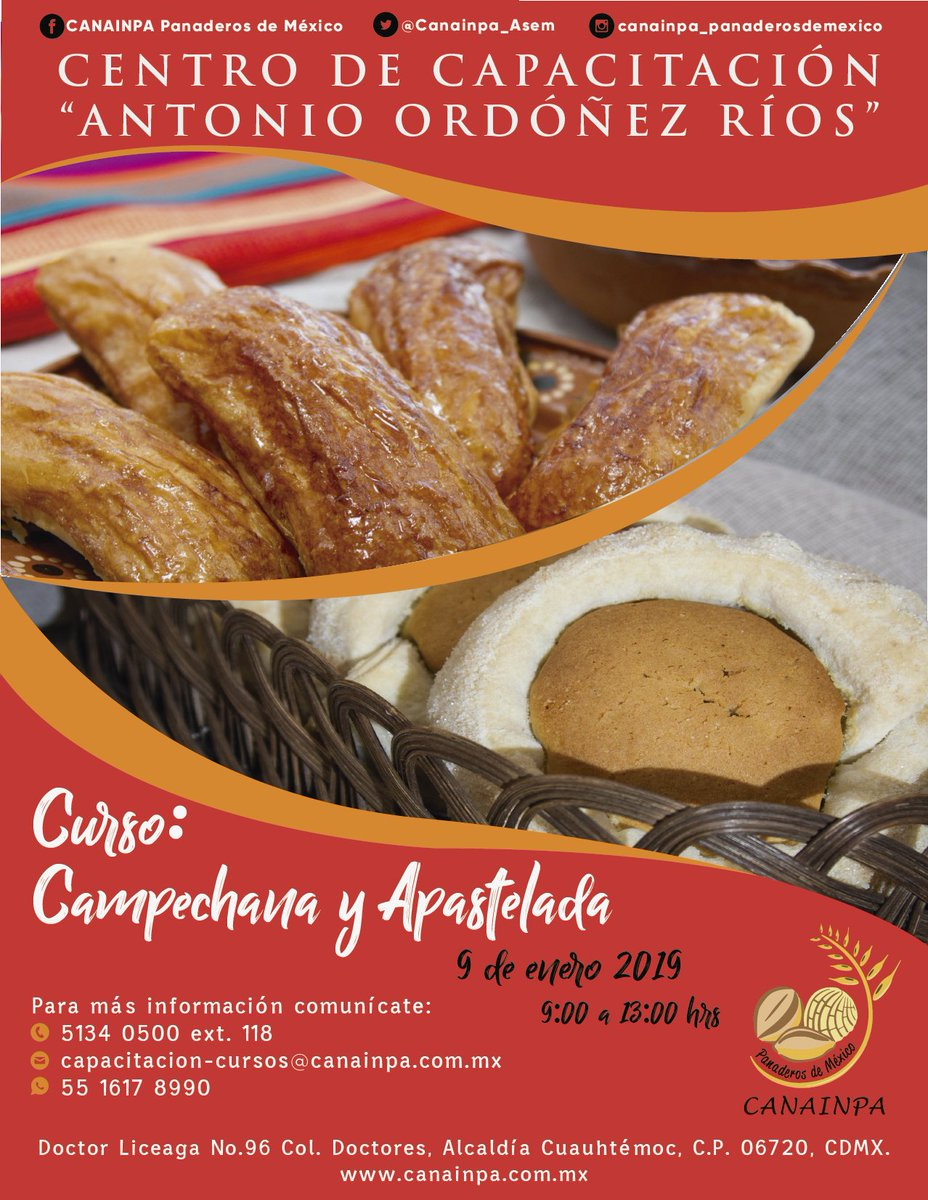"""Buenos dias! Te invitamos al curso: """"Campechana y Apastelada"""" #comesanocomepan #cursospanaderia #comamospan"""