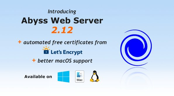 Abyss Web Server version 2.12 just released: it adds automated use of free #ACME certificates from @letsencrypt and improves #macOS support.  Learn more about the new features and download your copy now.  https://aprelium.com/news/abws2-12.html …