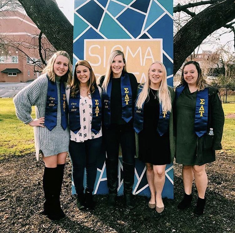 """""""How lucky am I to have something that makes saying goodbye so hard?""""  CONGRATULATIONS to our sisters who graduated today!! We are all so happy for you and cannot wait to see where life takes you 🎉🎓💙💛"""