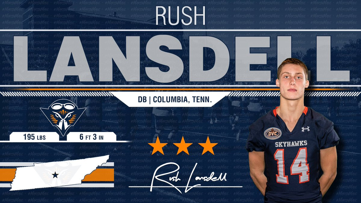The Skyhawks Pick Up A Huge Middle Tennessee Baller!!! @rushlansdell14 Has A Bright Future In Martin! 🔶🔷🏈🏆 #NSD19