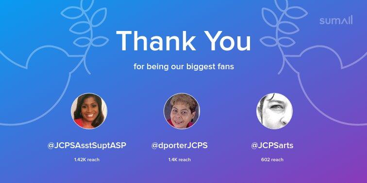 Our biggest fans this week: @JCPSAsstSuptASP, @dporterJCPS, @JCPSarts. Thank you! via sumall.com/thankyou?utm_s…