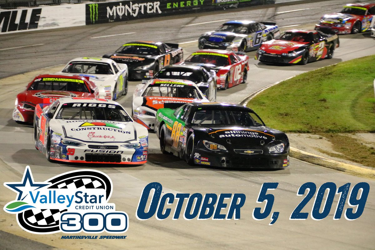 Late Model fans, mark your calendars! The 2019 #ValleyStar300 will be held October 5! It will again be the third leg of the Virginia Late Model Triple Crown, following races at @SoBoSpeedway57 and @LangleySpeedway.  Details: http://www.martinsvillespeedway.com/Articles/2018/12/2019-Date-Set-LMSC.aspx…
