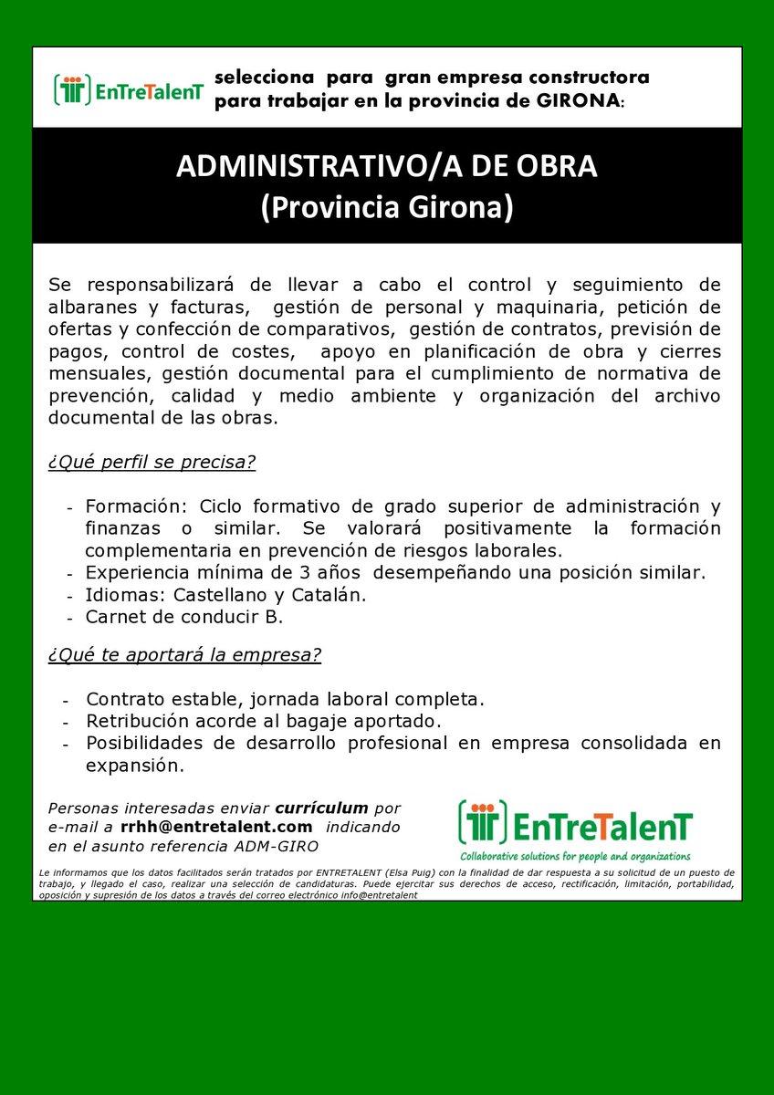 Entretalent On Twitter Oferta De Empleo Administrativo A