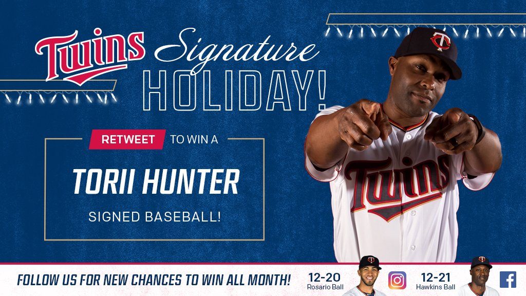RT for a chance to win a ⚾ signed by @toriihunter48! #SignatureHoliday http://www.twinsbaseball.com/signatureholiday…