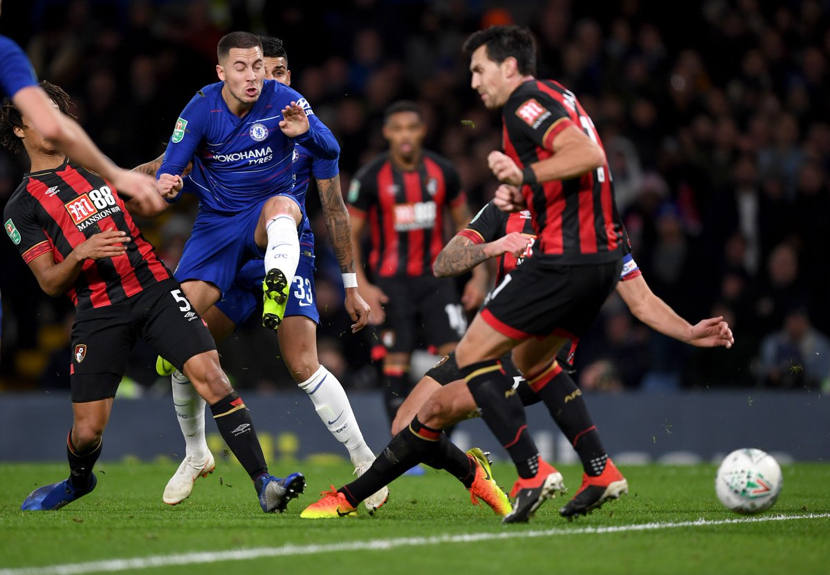 Duz1NA3WsA0TIpF - Hazard takes chelsea to semi-finals clash with Tottenham