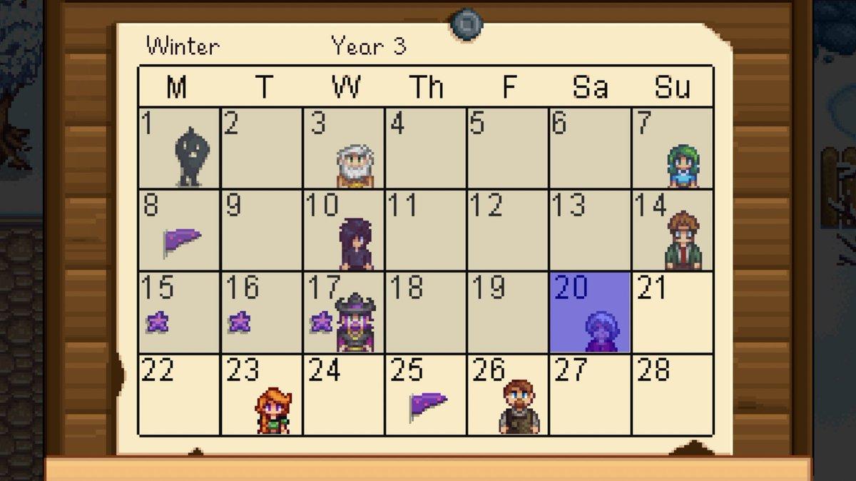 Stardew Calendar.Arnie Niekamp On Twitter I M Terrified Of Somehow Missing My