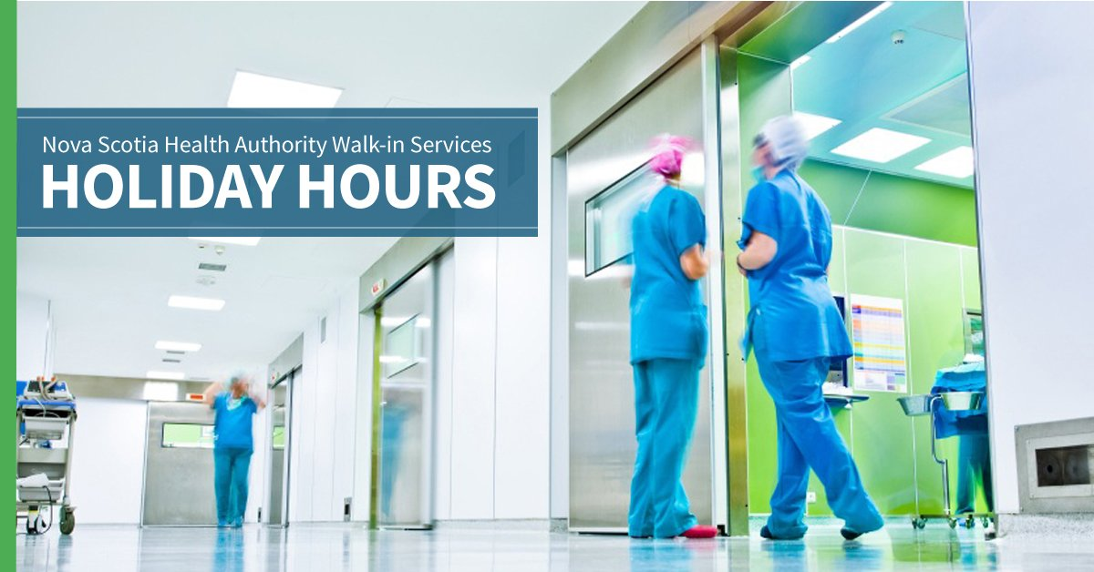 Nova Scotia Health Authority wishes you a happy, health holiday season. To prepare for your health needs, please note the following holiday walk-in service changes: http://www.nshealth.ca/news/walk-services-holiday-hours…