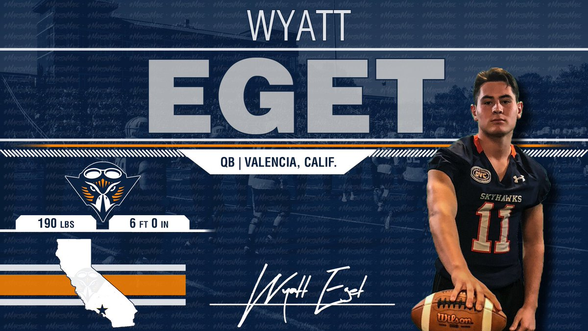This Baller Has All The Talent!!! All The Way From California!! He Has a 🚀 Arm & Despite a Late Push from some FBS School @WyattEget is a #Skyhawk 🔷🔶🏆🏈 #NSD19
