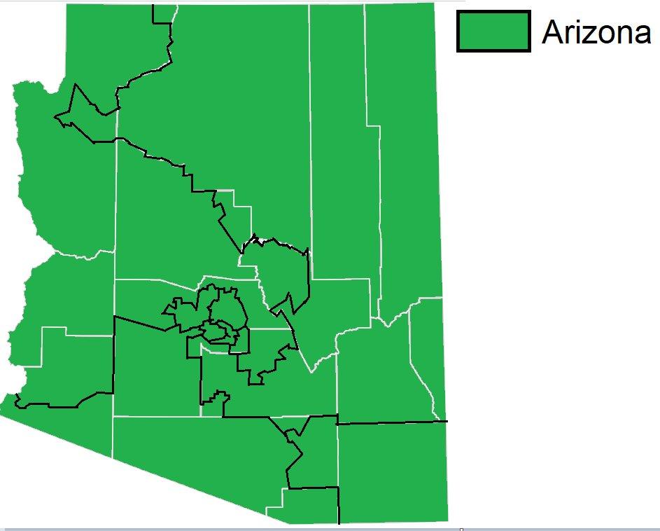 Map Of Arizona Voting Districts.Jon On Twitter Here S A Map Of Arizona Congressional Districts By