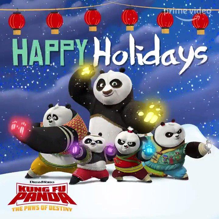 Happy Holidays from Po and the panda kids! #KungFuPanda