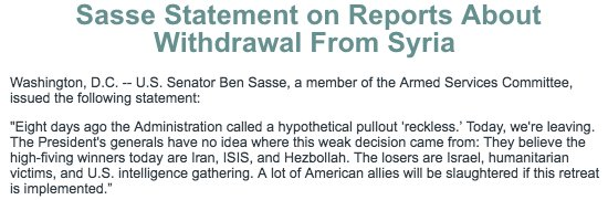 Statement on reports about withdrawal from Syria: