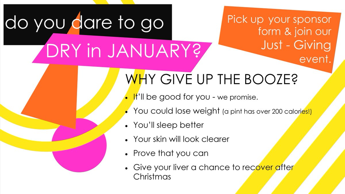 How about it - do you fancy giving the booze a rest in the name of charity?   You can join our fundraising effort by following this @JustGiving link;   https://www.justgiving.com/campaign/Dare-to-go-dry…  You could just collect donations or pop the savings you've made in a jar.   #Charity #DryJanuary