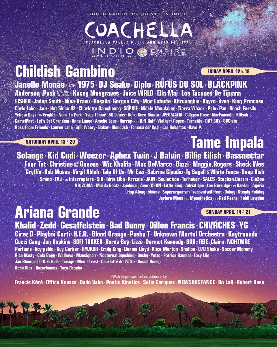 @Coachella 2019 🌴 see you there! #BLACKPINK #블랙핑크 #COACHELLA #코첼라 #2019_LINEUP #20190412 #20190419 #YG