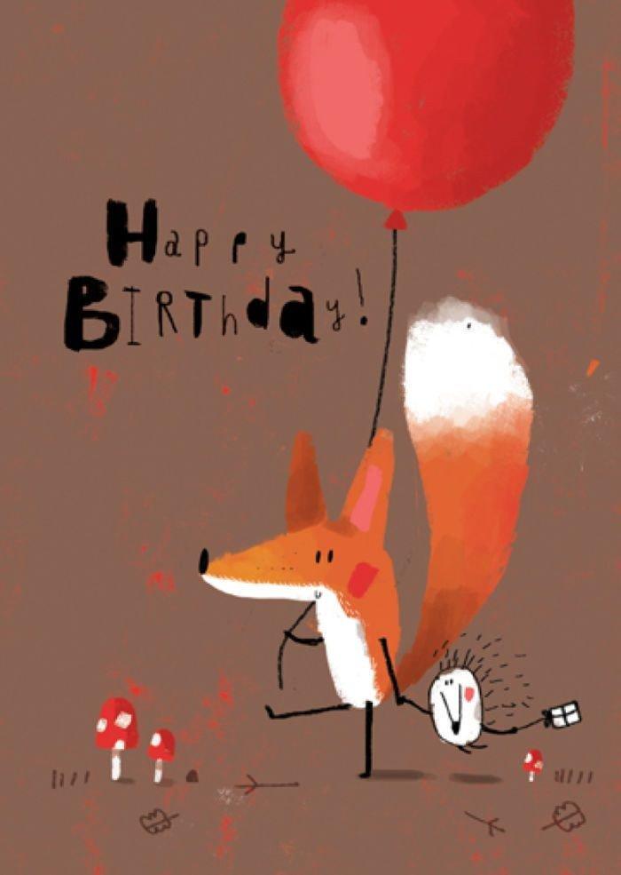 Открытка с днем рождения с лисой, смешные надписями