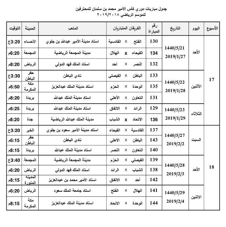 الرياضية عاجل On Twitter جدول مباريات الدور الثاني من دوري