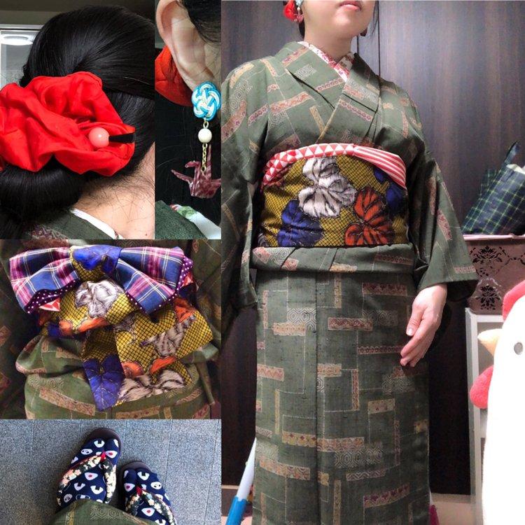 test ツイッターメディア - 親族の集まりへ。祖母の着物にマイファースト #モダコマ帯 、渋めコーデに赤を効かせてみました。リボンパタパタ結びいいですね♪ シュシュ:まっつぉさん 玉簪: #ダイソー ピアス: #あるにか。 半衿: #花金魚 着物:祖母の箪笥から 帯揚げ: #yumiutsugibeadworks 帯: #モダン小町 https://t.co/UNz93KpjJ3