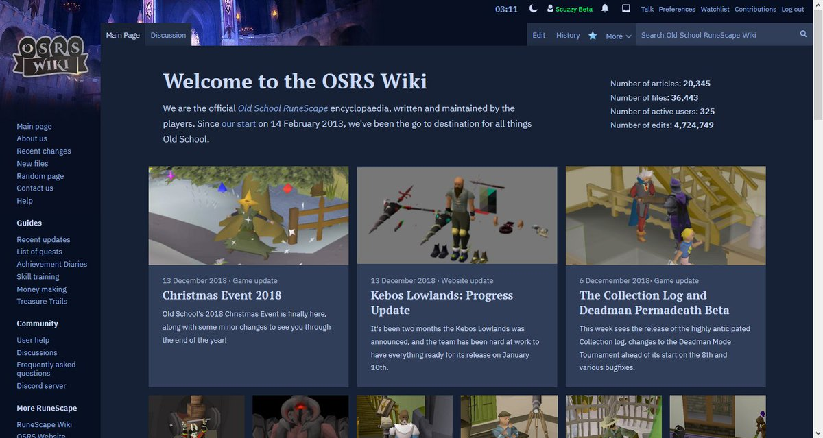 Runescape Christmas Event 2019.Osrs Wiki On Twitter Dark Mode Sticky Headers Are Here