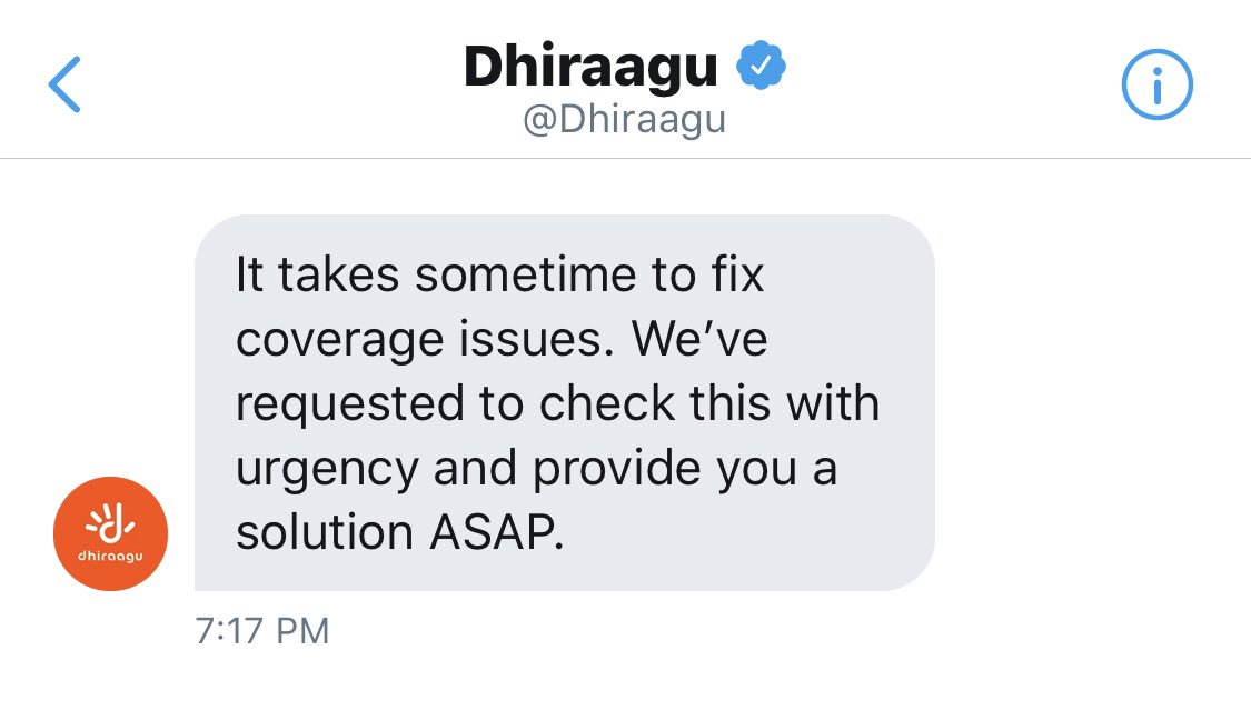 Dont you think 30 days is enough to resolve coverage issue by no 1 network service provider?  We have been receiving this same response everytime when we check on status. But FYI we cannot make any calls at home. It has became a huge headache 😡 @Dhiraagu