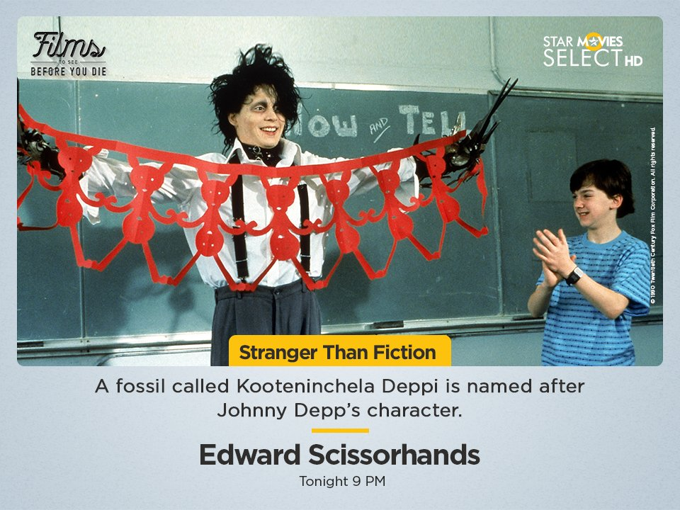 #StrangerThanFiction Kooteninchela Deppi is a distant ancestor of lobsters and scorpions. The scientist named this ancient extinct creature with 'scissor hand-like' claws after his favourite movie star. Watch 'Edward Scissorhands', tonight at 9 PM.  #FilmsToSeeBeforeYouDie