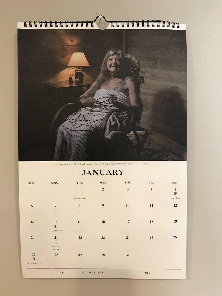So excited to start 2019 with my @HereditaryMovie #EvilGrandmas calendar.