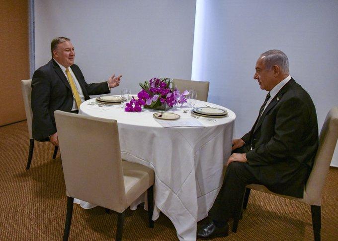 U.S. Secretary of State Michael R. Pompeo meets with Israeli Prime Minister Benjamin Netanyahu in Brasilia, Brazil, January 1, 2019.