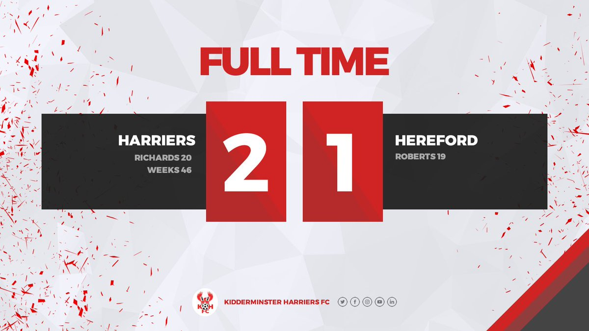 Harriers dug in deep to defend late on but, with ten men, you cannot say that isn't a fully deserved win for the Reds!