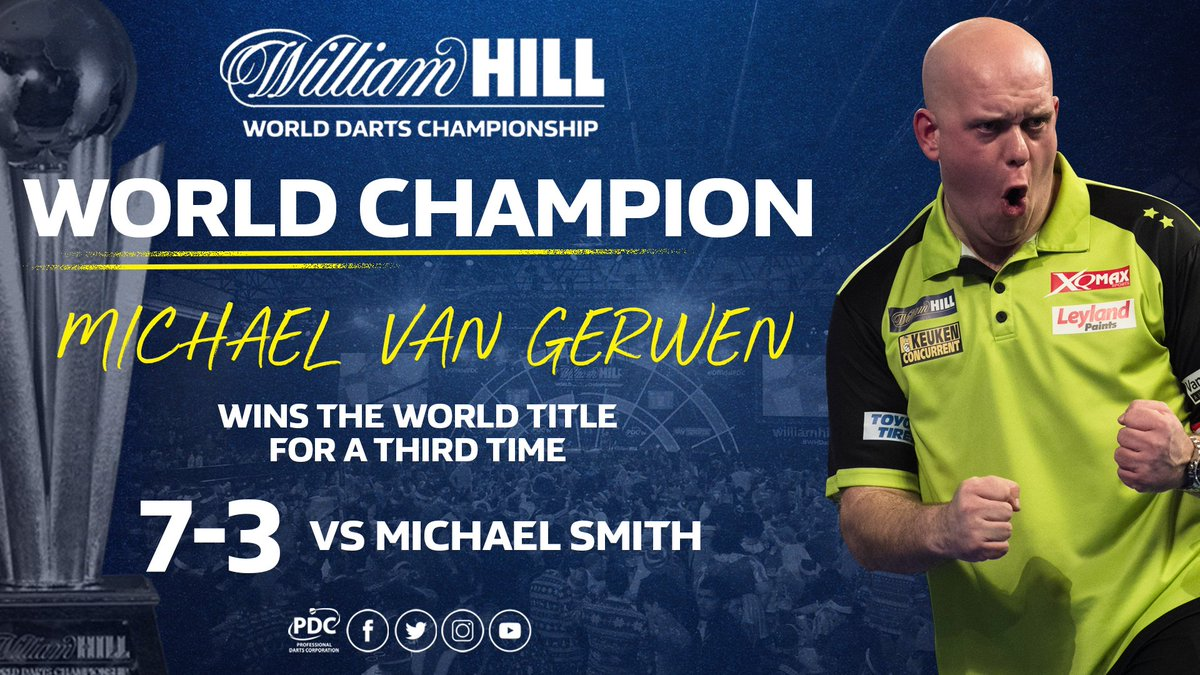 WORLD CHAMPION! 🏆  Michael van Gerwen wins the @WilliamHill World Darts Championship for a third time, beating Michael Smith 7-3 in the final.   #WHDarts https://t.co/UH2rfRdyaz