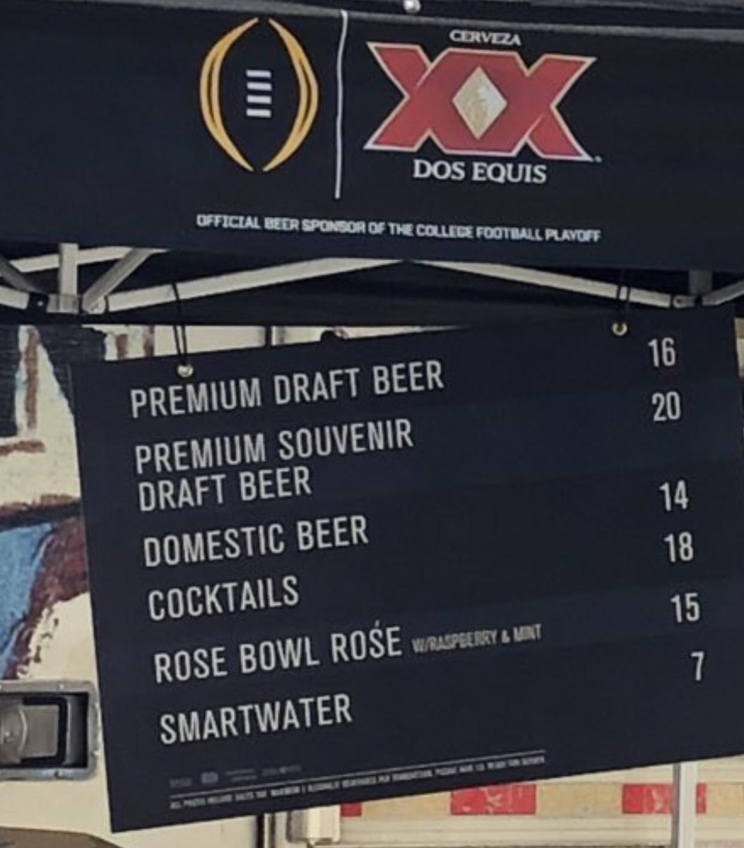Rose Bowl drink prices today (via @Kevin_Noon) https://t.co/t8EKFwX7zP