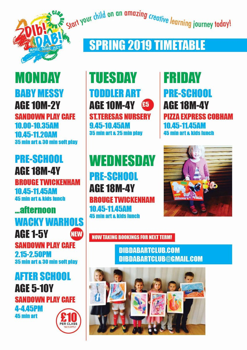 Dib Dab Art Club On Twitter Our Timetable For This Term