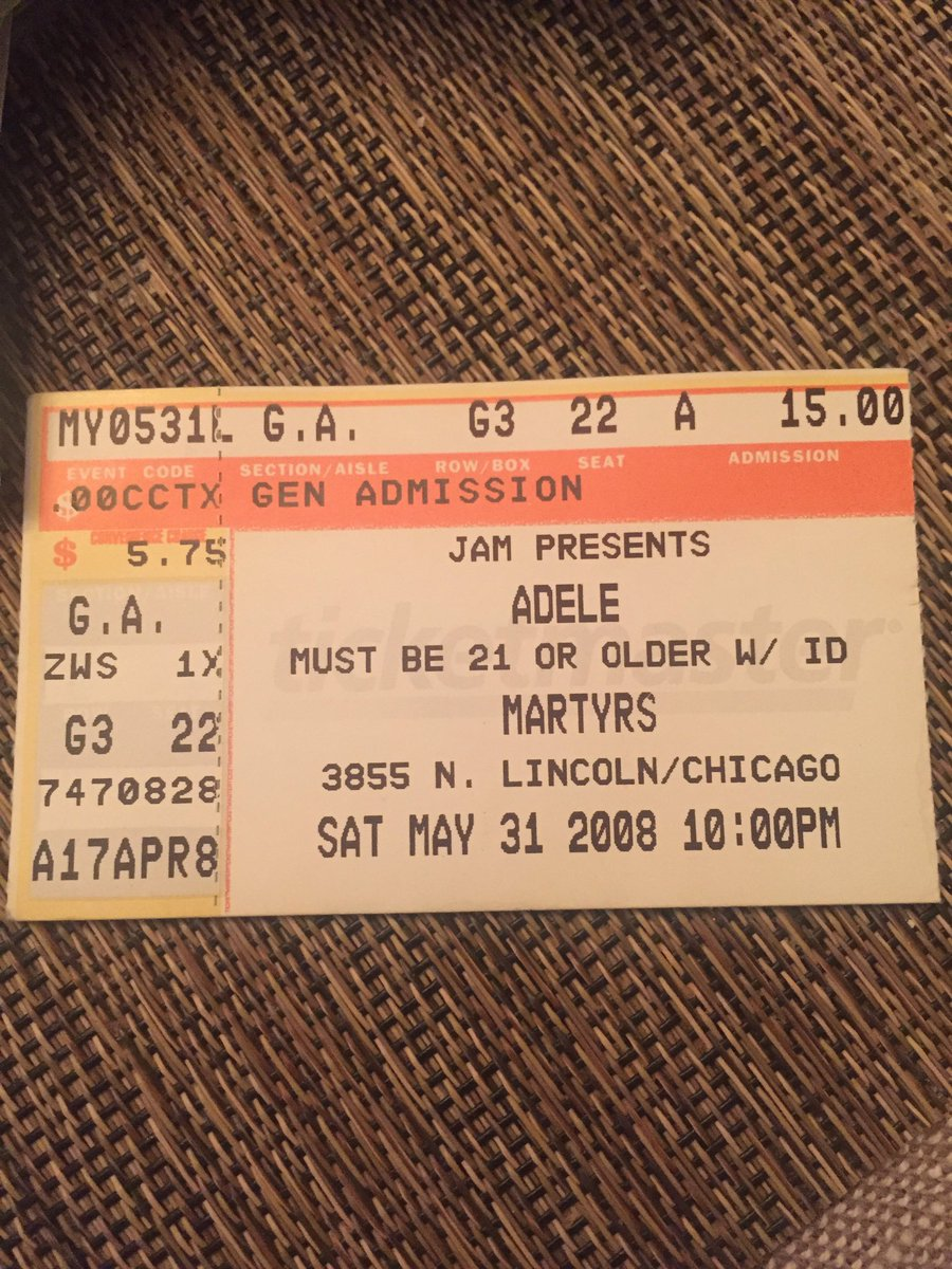 Found an old box of concert ticket stubs.  That time I saw Adele at Martyrs for 15 bucks! 😳
