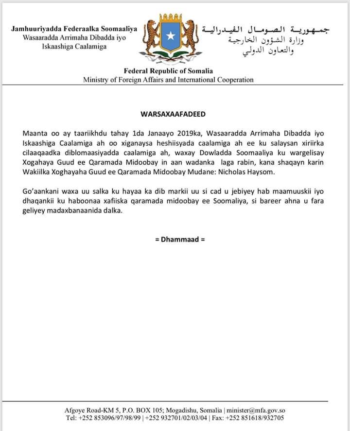 Somalia government has ordered the UN special envoy, Nicholas Haysom to leave the country. It's a brave step @TheVillaSomalia  @SomaliPM  #Dawladdanimo