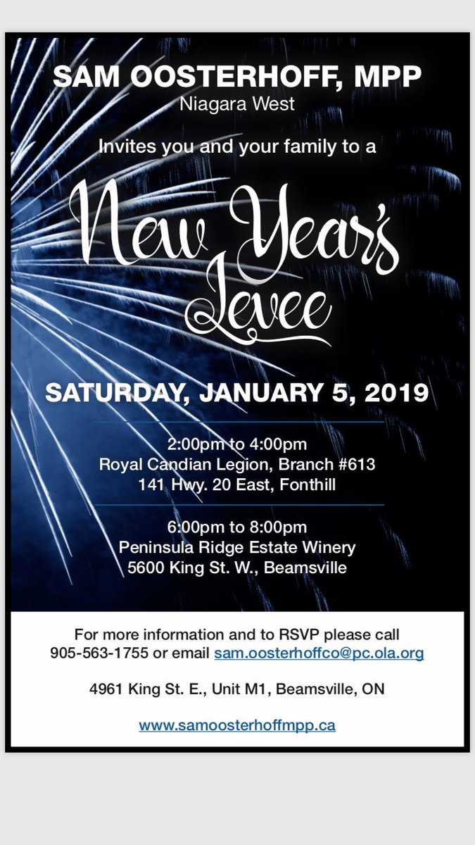 Sam Oosterhoff On Twitter My 3rd Annual New Years Levee Will Be This Saturday All Are Welcome
